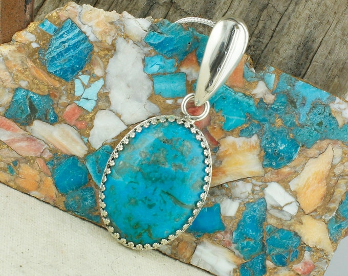 Kingman Turquoise Pendant - Sterling Silver Pendant Necklace -Blue Kingman Turquoise Necklace