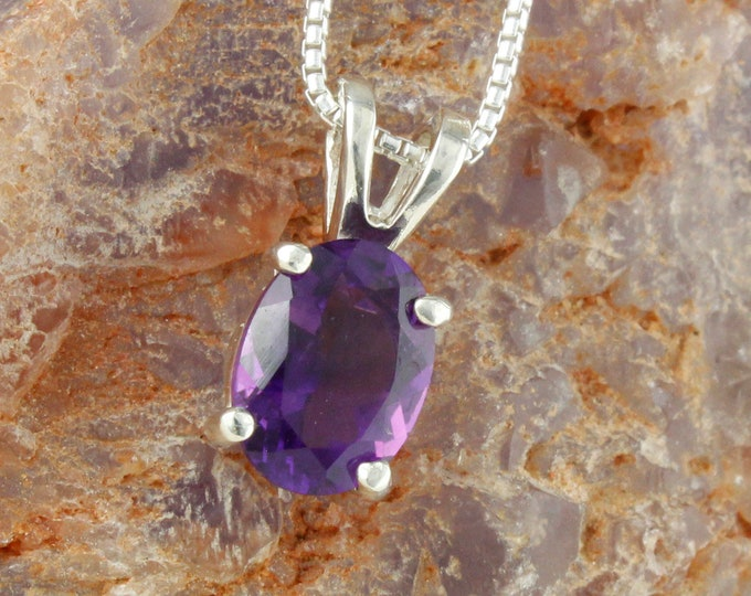 Natural Amethyst Pendant -Sterling Silver Pendant Necklace -Purple Amethyst Necklace