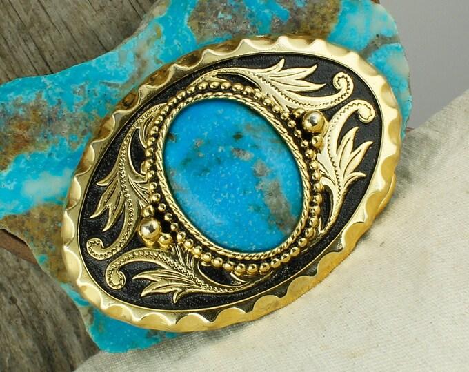 Kingman Turquoise Belt Buckle -Western Belt Buckle -  Cowboy Belt Buckle - Boho Belt Buckle