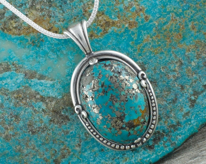 Nacozari Turquoise Pendant -Sterling Silver Pendant Necklace -Blue Nacozari Turquoise Necklace