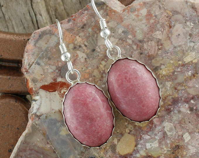 Rhodonite Earrings - Sterling Silver Earrings - Rhodonite Dangles - Dangle Earrings