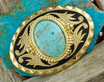 Kingman Turquoise Belt Buckle - Western Belt Buckle - Cowboy Belt Buckle - Boho Belt Buckle