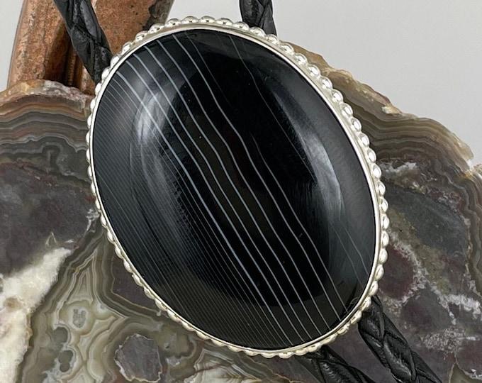 Natural Black Onyx Bolo Tie - Western Bolo Tie - Cowboy Bolo Tie - Sterling Silver Bolo Tie