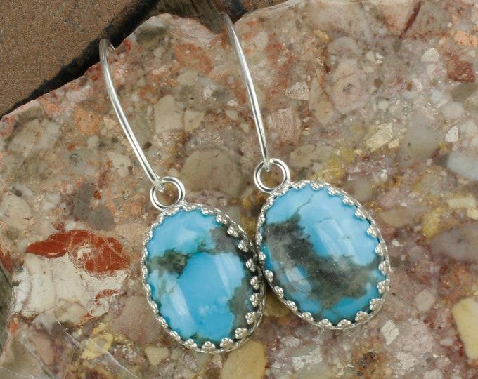 Kingman Turquoise Earrings -Sterling Silver Earrings-Blue Kingman Turquoise Dangles - Dangle Earrings