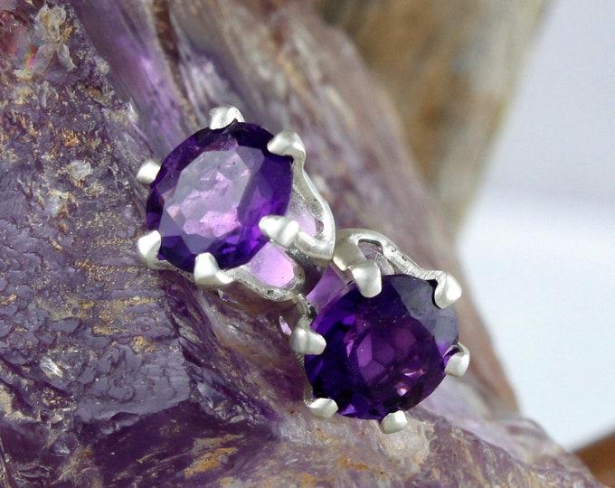 Natural Purple Amethyst Earrings - Sterling Silver Post Earrings - Purple Amethyst Studs - Stud Earrings
