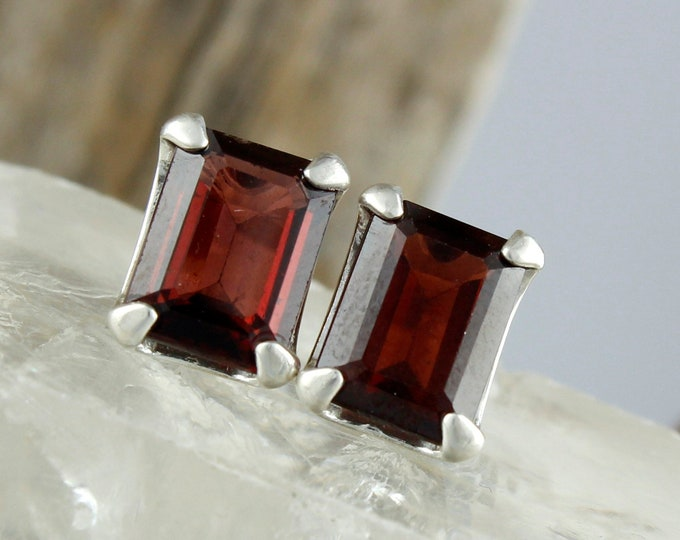 Red Garnet Earrings - Silver Post Earrings - Red Garnet Studs - Silver Stud Earrings - Statement Earrings