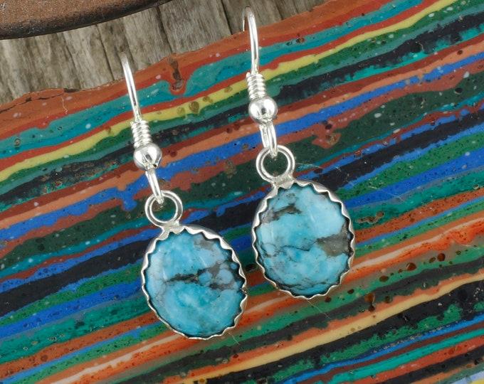 Kingman Turquoise Earrings-Sterling Silver Earrings-Blue Kingman Turquoise Dangles - Dangle Earrings