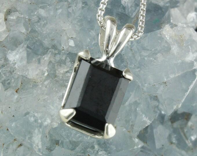 Natural Black Spinel Pendant - Sterling Silver Pendant Necklace - Black Spinel Necklace