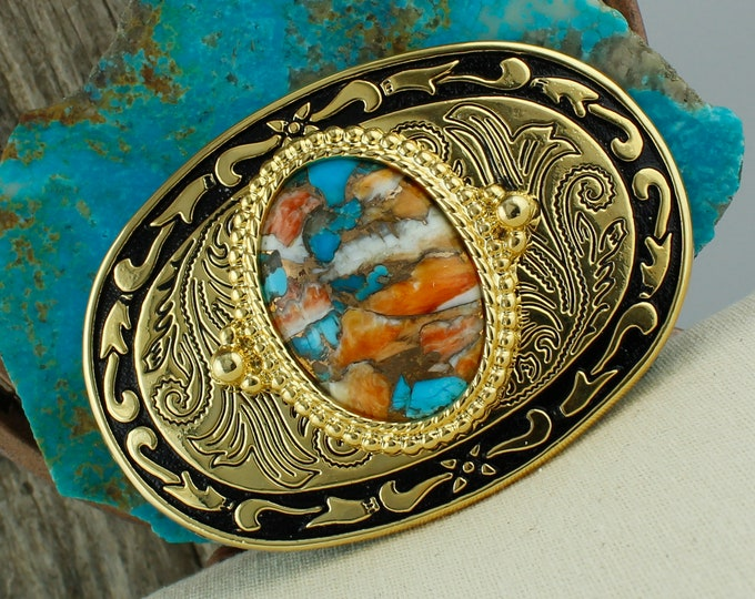 Spiny Oyster & Turquoise Belt Buckle - Western Belt Buckle -Cowboy Belt Buckle - Boho Belt Buckle