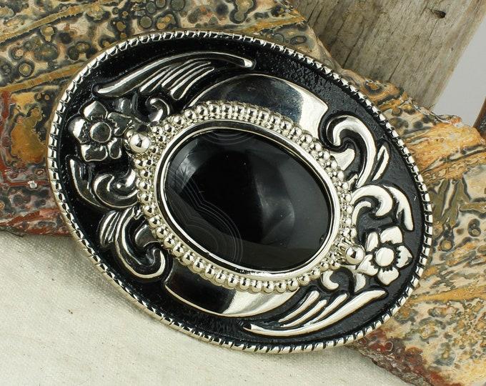 Western Style Natural Black Onyx Belt Buckle - Cowboy  Belt Buckle - Boho Belt Buckle