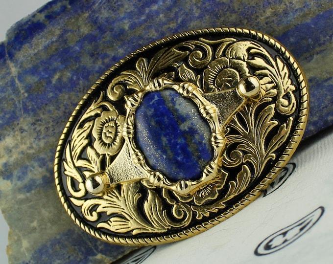Natural Lapis Belt Buckle -Western Belt Buckle -Cowboy Belt Buckle - Boho Belt Buckle