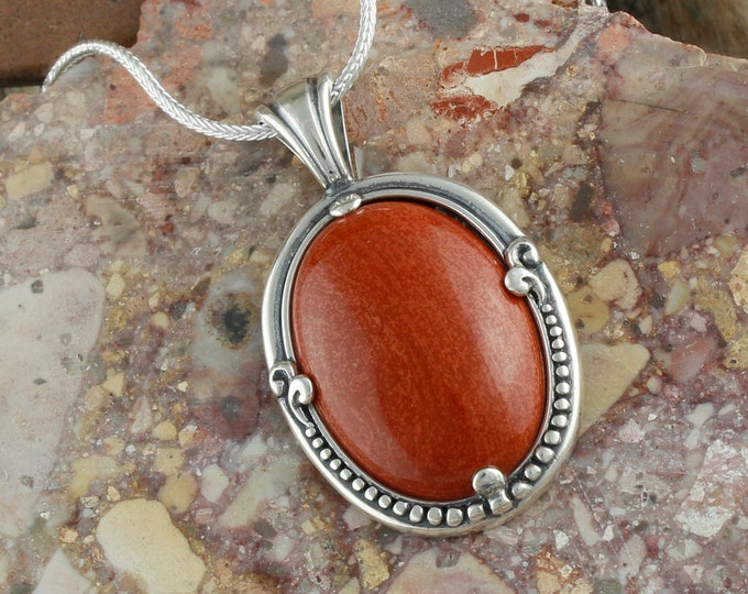 Natural Red Jasper Pendant - Sterling Silver Pendant Necklace -Red Jasper Necklace
