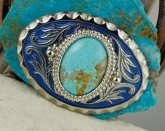 Blue Kingman Turquoise Belt Buckle - Western Turquoise Belt Buckle - Cowboy Belt Buckle - Boho Belt Buckle