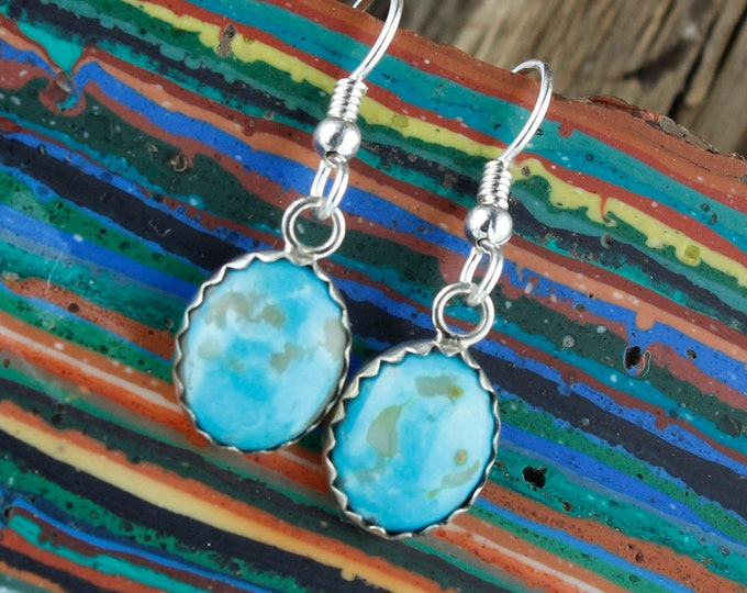Kingman Turquoise Earrings -Sterling Silver Earrings -Blue Kingman Turquoise Dangles - Dangle Earrings