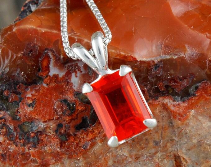Fire Opal Pendant - Fire Opal Necklace - Silver Pendant - Pendant Necklace - Statement Pendant