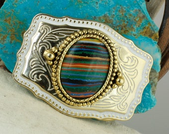 Rainbow Calsilica Belt Buckle - Western Style Belt Buckle - Boho Cowboy Belt Buckle