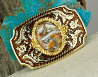 Spiny Oyster & Bronze Belt Buckle - Western Style Belt Buckle - Boho Cowboy Belt Buckle