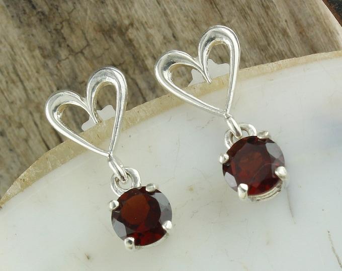 Natural Red Garnet Earrings - Sterling Silver Earrings -Red Garnet Dangles - Dangle Earrings