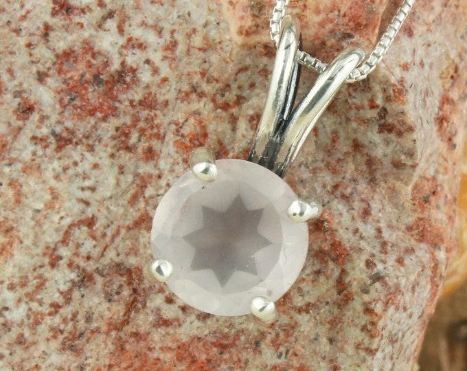 Natural Rose Quartz Pendant -Sterling Silver Pendant Necklace-Rose Quartz Necklace
