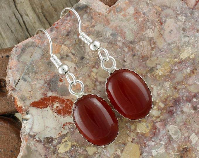 Natural Carnelian Earrings -Sterling Silver Earrings-Red Carnelian Dangles - Dangle Earrings