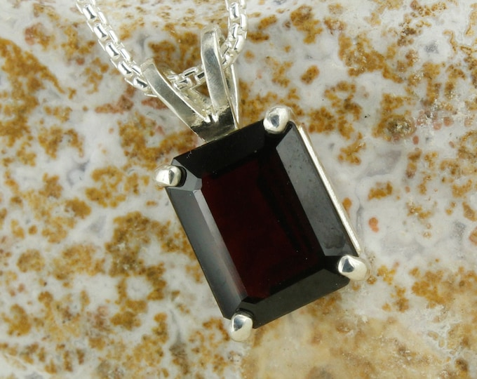 Natural Red Garnet Pendant - Sterling Silver Pendant Necklace -Red Garnet Necklace