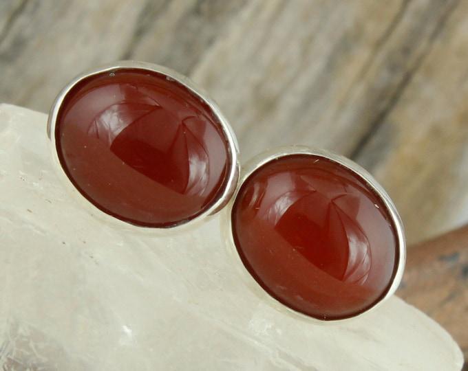 Natural Red Carnelian Earrings - Sterling Silver Earrings - Red Carnelian Studs - Stud Earrings