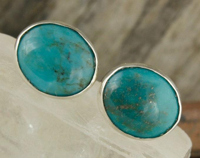 Kingman Turquoise Earrings - Sterling Silver Turquoise Stud Earrings - Blue Kingman Turquoise Studs