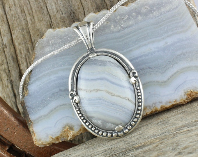Natural Blue Agate Pendant - Sterling Silver Pendant Necklace - Blue Lace Agate Necklace