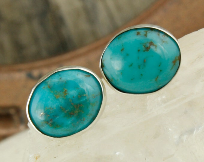 Kingman Turquoise Earrings-Sterling Silver Earrings-Blue Turquoise Studs - Stud Earrings