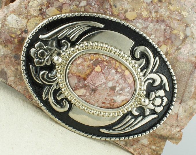 Natural Confetti Jasper Belt Buckle - Western Belt Buckle - Cowboy Belt Buckle - Boho Belt Buckle