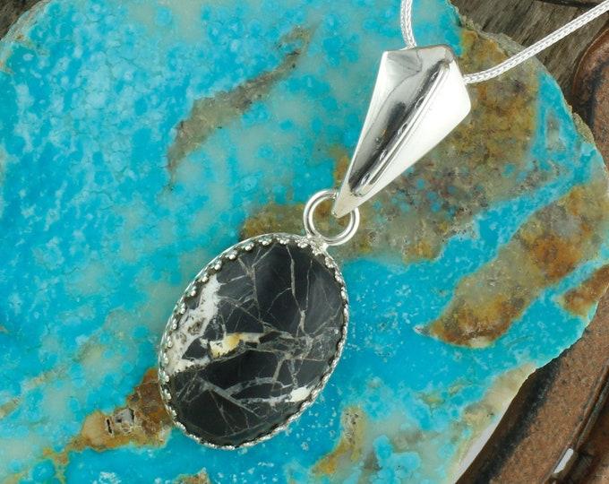 Natural White Buffalo Pendant - Sterling Silver Pendant Necklace - White Buffalo Necklace