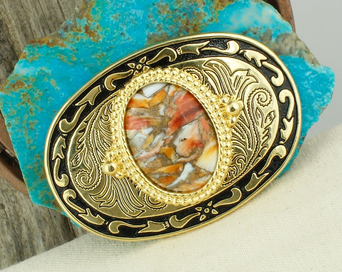 Spiny Oyster and Bronze Belt Buckle - Western Belt Buckle - Cowboy Belt Buckle - Boho Belt Buckle