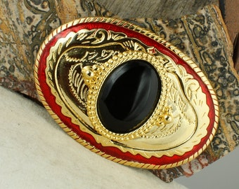 Natural Black Onyx Belt Buckle - Western Style Belt Buckle - Cowboy Belt Buckle - Boho Belt Buckle