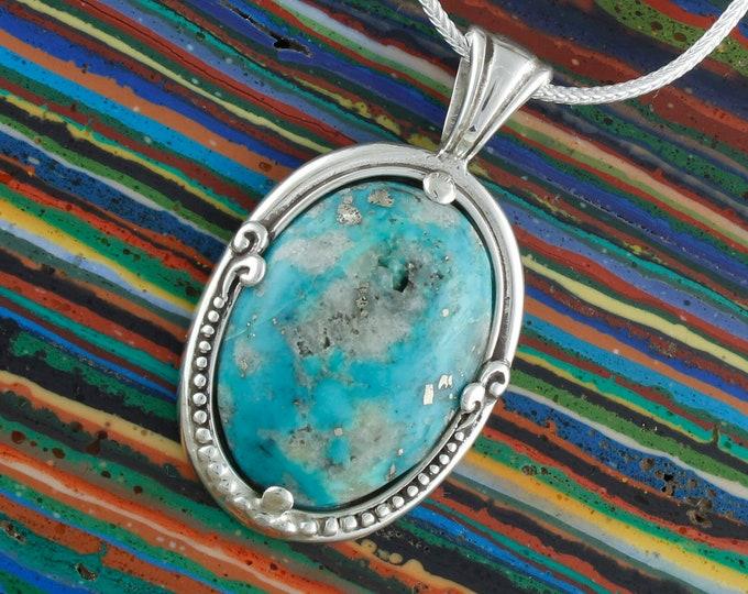Nacozari Turquoise Pendant - Sterling Silver Pendant Necklace -Blue Nacozari Turquoise Necklace