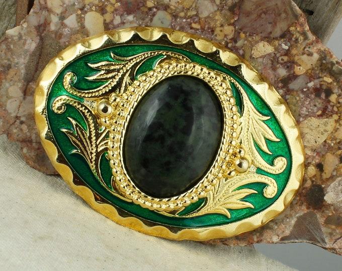 Natural Green Jade Belt Buckle - Western Style Belt Buckle - Cowboy Belt Buckle - Boho Belt Buckle