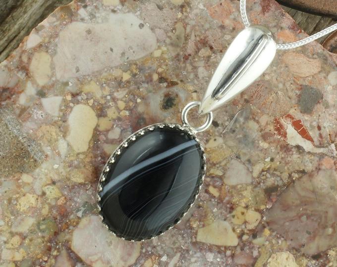 Natural Black & White Onyx Pendant - Sterling Silver Pendant Necklace - Natural Black and White Onyx Necklace