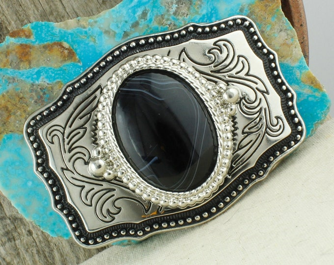 Natural Black & White Onyx Belt Buckle -Western Belt Buckle-Cowboy Belt Buckle - Boho Belt Buckle