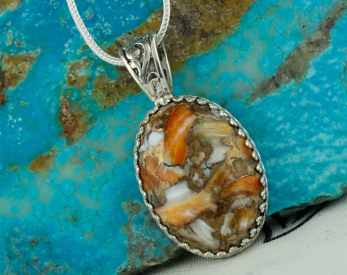 Spiny Oyster & Bronze Pendant - Sterling Silver  Pendant Necklace - Spiny Oyster and Bronze Necklace