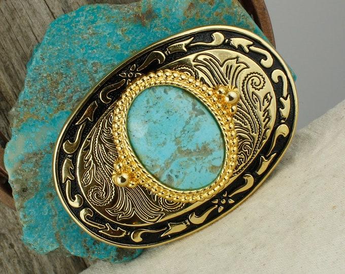 Kingman Turquoise Belt Buckle - Western Style Belt Buckle - Cowboy Belt Buckle - Boho Belt Buckle