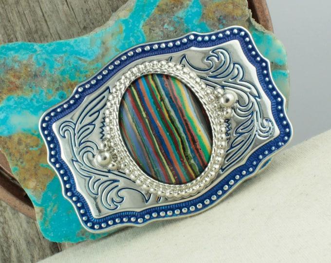 Rainbow Calsilica Belt Buckle - Western Belt Buckle -Cowboy Belt Buckle - Boho Belt Buckle