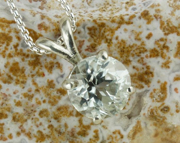 Natural White Topaz Pendant - Sterling Silver Pendant Necklace - Natural White Topaz Necklace
