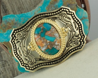 Spiny Oyster & Turquoise Belt Buckle - Western Belt Buckle - Cowboy Belt Buckle - Boho Belt Buckle
