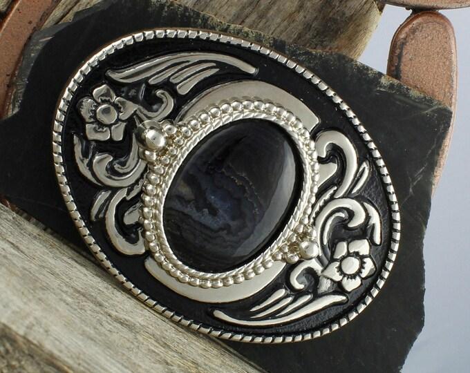 Natural Black Onyx Belt Buckle - Western Belt Buckle - Cowboy Belt Buckle - Boho Belt Buckle