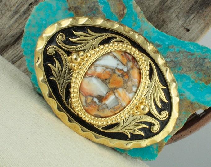Spiny Oyster & Bronze Belt Buckle - Western Belt Buckle - Cowboy Belt Buckle - Boho Belt Buckle