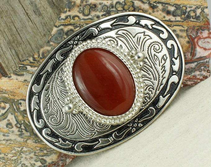 Natural Red Carnelian Belt Buckle - Western Belt Buckle - Cowboy Belt Buckle - Boho Belt Buckle