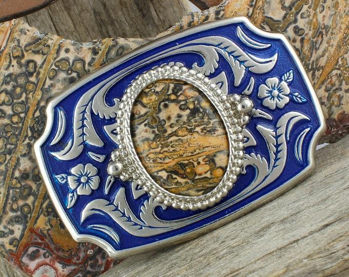 Natural Leopard Skin Jasper Belt Buckle-Western Belt Buckle-Cowboy Belt Buckle - Boho Belt Buckle