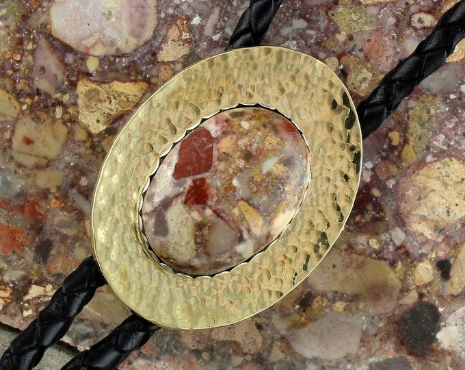 Leopard Skin Jasper Bolo Tie - Western Bolo Tie - Cowboy  Bolo Tie Necklace - Brass Bolo Tie