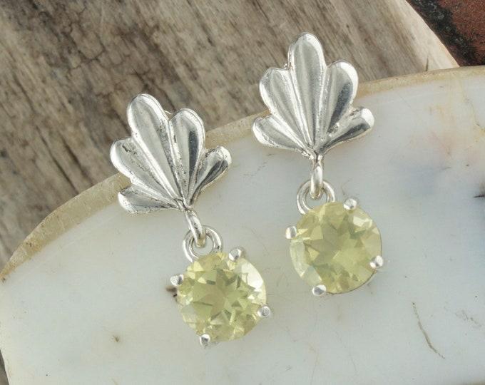 Natural Lemon Quartz Earrings - Sterling Silver Earrings - Lemon Quartz Dangles - Dangle Earrings