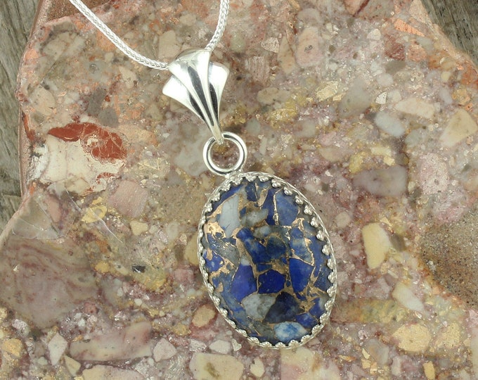 Lapis Lazuli & Bronze Pendant - Sterling Silver Pendant Necklace - Lapis Lazuli and Bronze Necklace