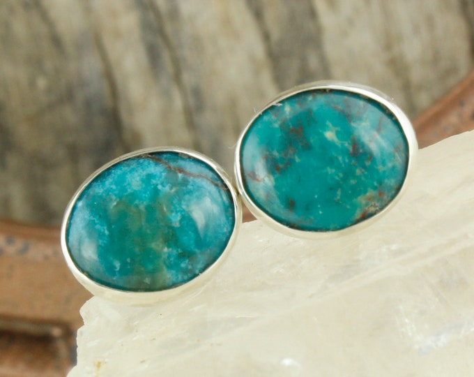 Kingman Turquoise Earrings -Sterling Silver Earrings -Blue Kingman Turquoise Studs - Stud Earrings